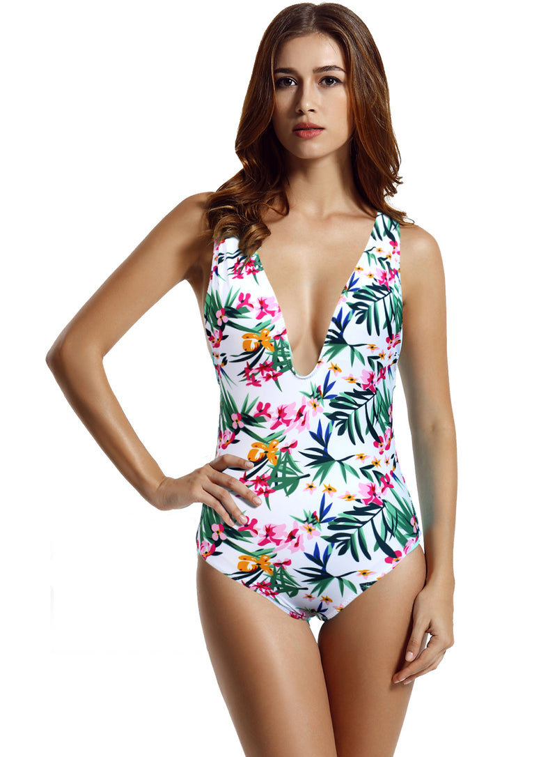 Zeraca Women's High Cut One Piece Swimsuits Bathing Suits - zeraca