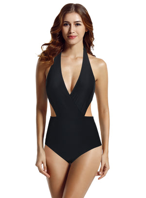zeraca Women's Surplice Neckline High Waisted Halter One Piece Monokini Swimsuit - zeraca