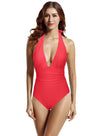 zeraca Women's Shirred Detail Plunge Deep V Neck Backless One Piece Swimsuit Bathing Suit - zeraca