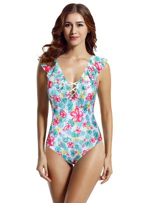 Zeraca Women's Ruffle V Neck One Piece Swimsuit