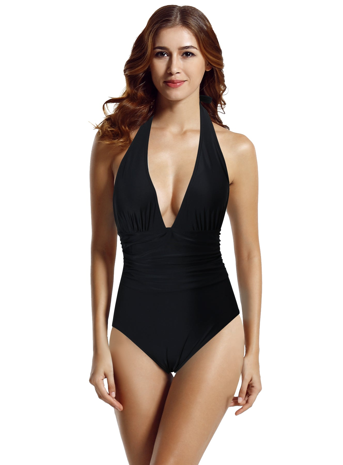 891f9d1195adb zeraca Women's Shirred Detail Plunge Deep V Neck Backless One Piece  Swimsuit Bathing Suit - zeraca