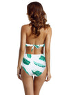 zeraca Women's Surplice Neckline High Waisted Halter One Piece Monokini Swimsuit