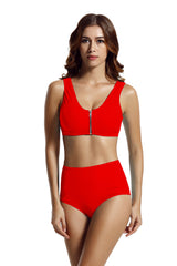 Zeraca Racerback Zipper High Waisted Bikini Swimsuit