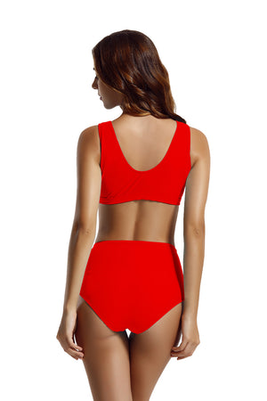 Zeraca Racerback Zipper High Waisted Bikini Swimsuit - zeraca