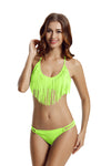 Zeraca Women's Fringe Halter Top Low Rise Bottom Bikini Bathing suits - zeraca