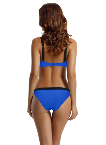 Zeraca Women's Color Block Cheeky Bottom Triangle Bikini Bathing Suits
