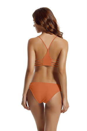 zeraca Women's Strap Side Bottom Halter Racerback Bikini Bathing Suits (FBA)