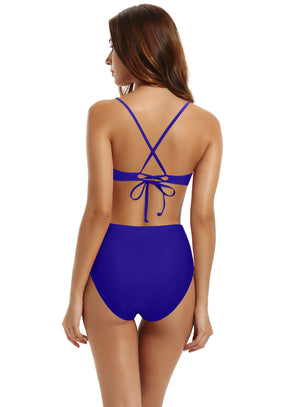 Zeraca Women's Strappy Cross back High Waisted One Piece Monokini Bathing Suit