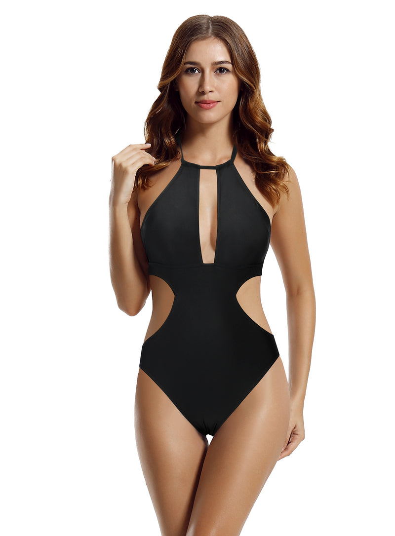 zeraca Women's High Neck Plunge Cut Out One Piece Swimsuit Monokini