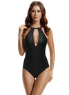Zeraca Women's High Neck Deep Plunge One Piece Swimsuit Monokini