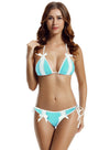 Zeraca Women's Bow Lace Tie Triangle Bikini Bathing Suit - zeraca