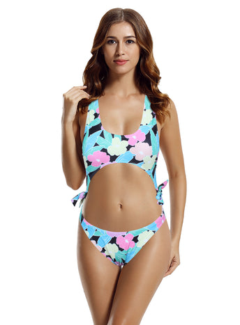 Zeraca Women's 80'S High Cut One Piece Swimsuit Bathing Suit