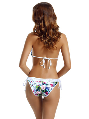 Zeraca Women's Tie Side Pantie Lace Triangle Bikini Set - zeraca
