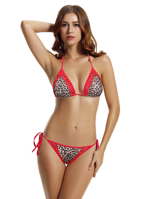 Zeraca Women's Sexy Thin Lace Halter Triangle Bikini Bathing Suits - zeraca
