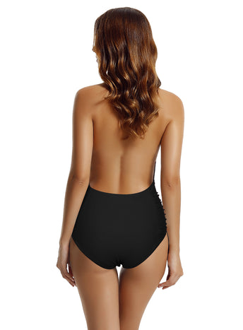 Zeraca Women's Deep Plunge High Waisted One Piece Swimsuit Bathing Suit