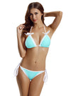Zeraca Women's Bow Lace Halter Triangle Bikini Bathing Suits - zeraca