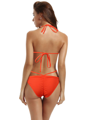 zeraca Women's Ruched Bottom Strappy Triangle Bikini Bathing Suit - zeraca