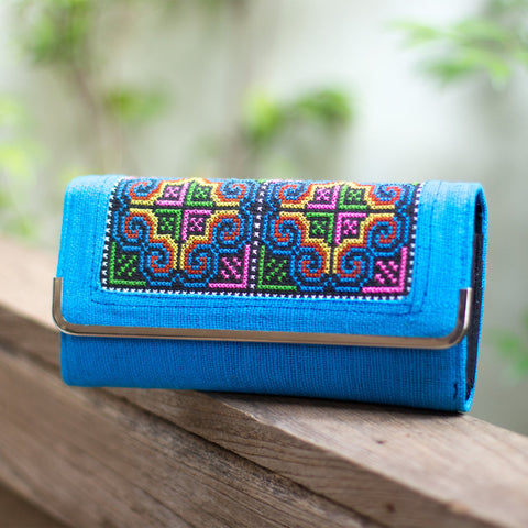Blue Embroidered Wallet