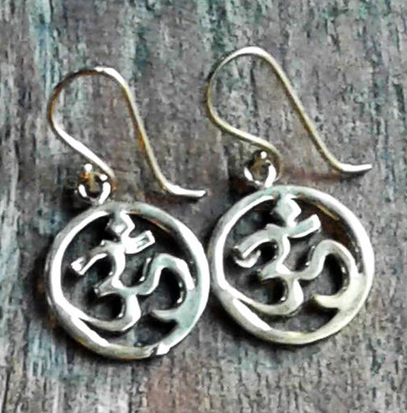 Brass Om Earrings