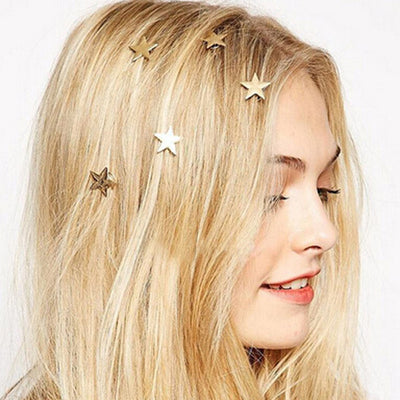 5 Golden Stars Spiral Hair Clips