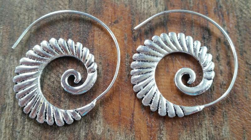 Silver Spiral Earrings with Waves