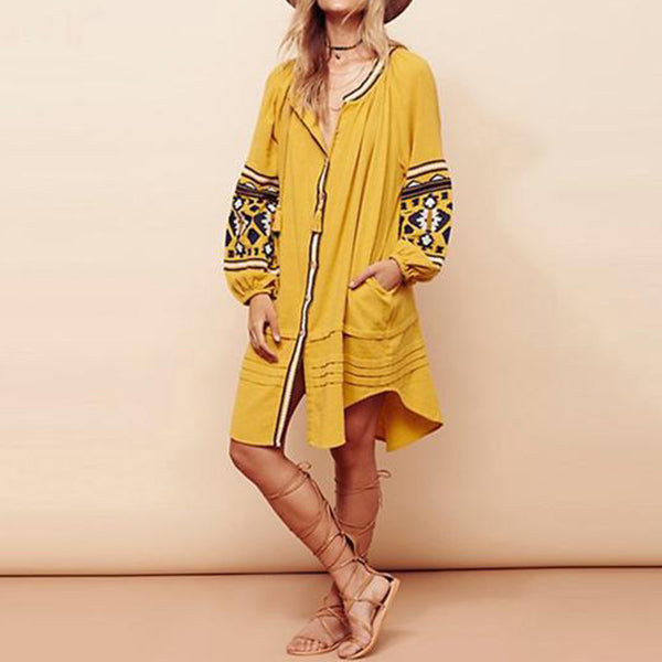 Embroidered Long Sleeved Dress (6 Colors)