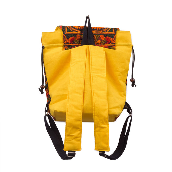 Yellow Embroidered Backpack