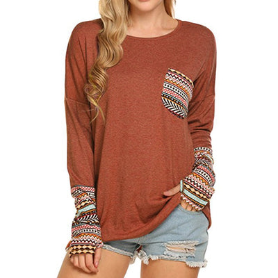 Patterned Long Sleeve Top (4 Colors)