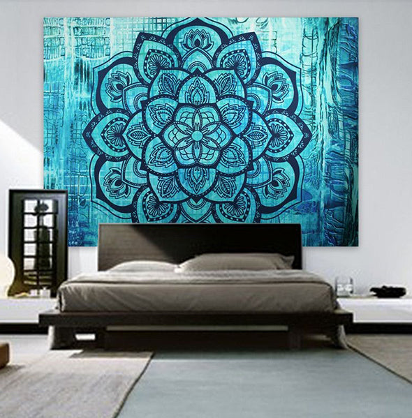 Blue Lotus Flower Mandala Tapestry
