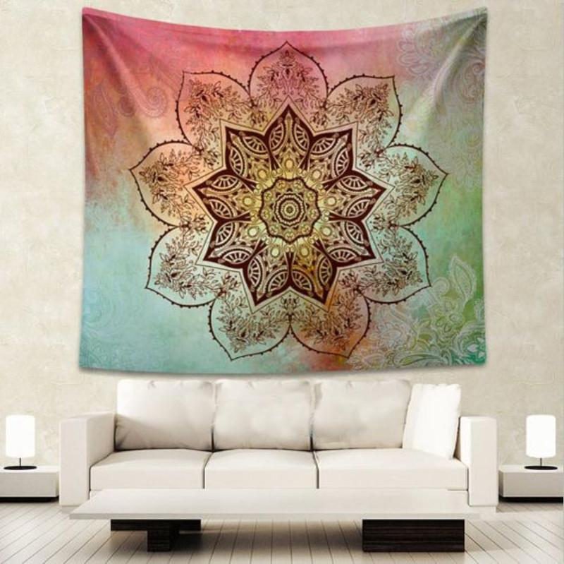 Gradient Flower Mandala Tapestry