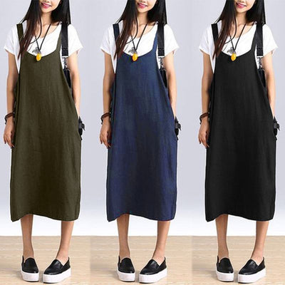 Minimal Fall Overall Dress (3 Colors)