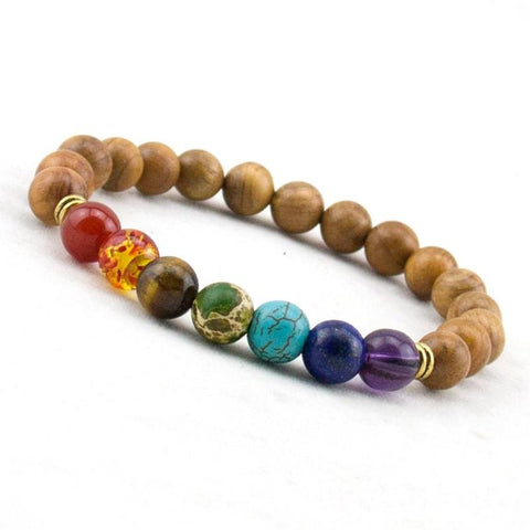 Healing 7 Chakras Wooden Energy Beads
