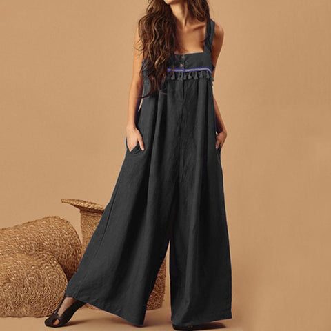 Embroidered Tassel Jumpsuit (4 Colors)