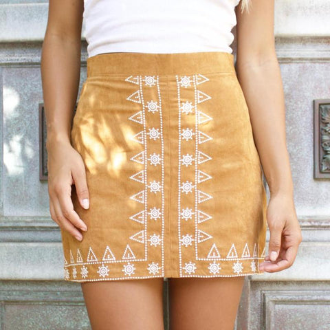 Embroidery A-line Skirt (2 Colors)