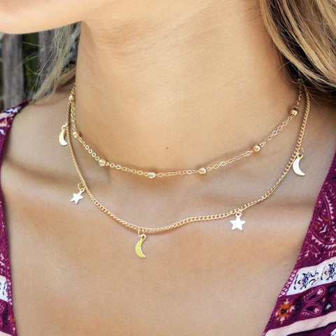Special Discount: Gold Moon and Star Necklace