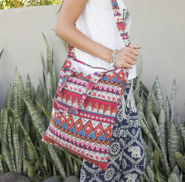 Red Hippie Tote Bag
