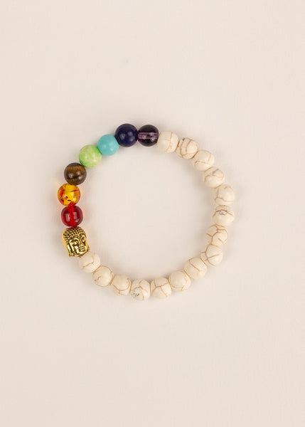 Buddhist 7 Chakra Beaded Bracelet White