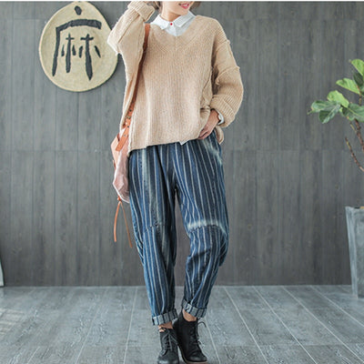 Striped Denim Style Pants