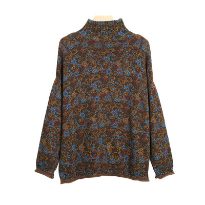 Vintage Floral Turtleneck Sweater