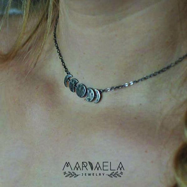 Silver Moon Phase Necklace