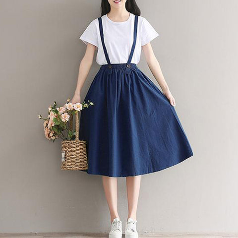 Minimal Pinafore Skirt (2 Colors)