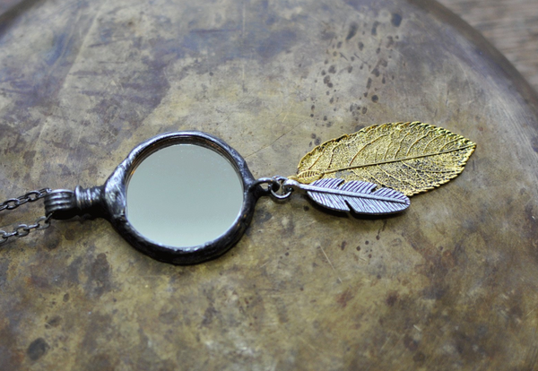 Mirror & Feathers Pendant Necklace