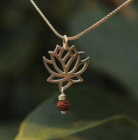 Rudraksha and Lotus Necklace
