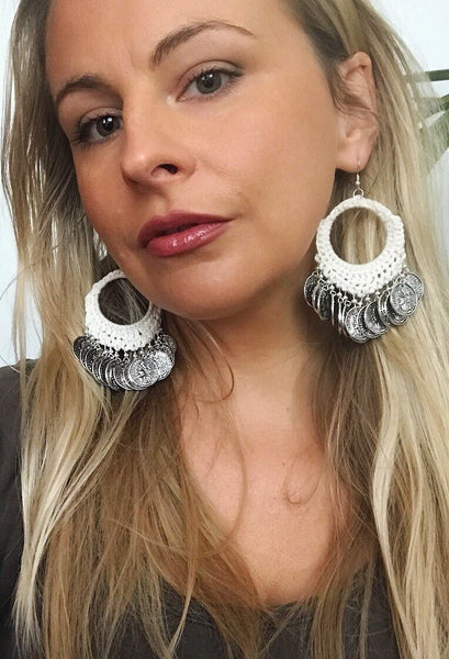 Crochet Coin Earrings (6 Colors)