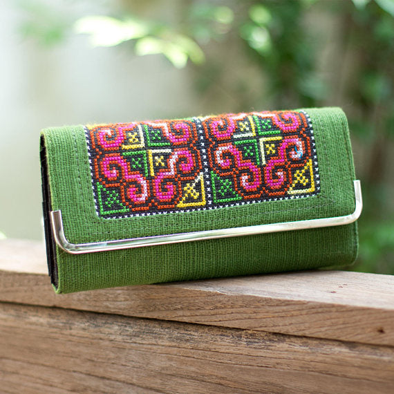 Green Embroidered Wallet