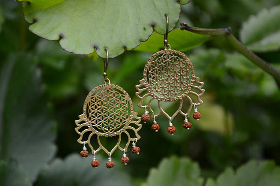 Brass Flower of Life & Lotus with Mini Rudraksha Drops Earrings