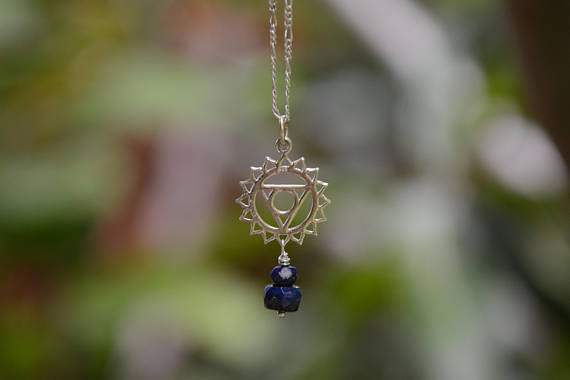 Throat Chakra Necklace with Lapis Lazuli - Sterling Silver Charm and Chain