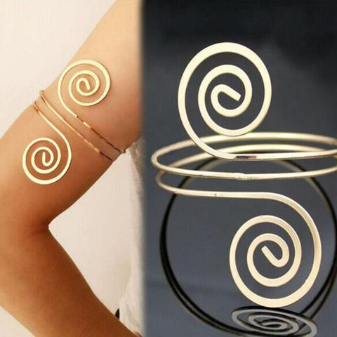 Celtic Spiral Arm Cuff (Silver and Gold)