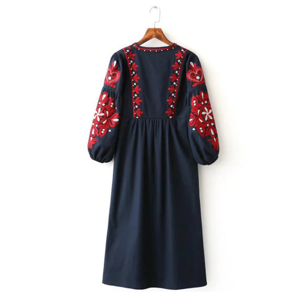 Red Embroidered Dress