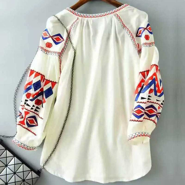 Patterned Lantern Sleeve Blouse